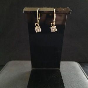 Vintage 14K Dangle Earrings - squares w/ Diamonds